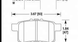 Колодки тормозные HB626E.577 HAWK Blue 9012 Acura/Honda (Rear) 14 mm