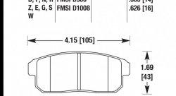 Колодки тормозные HB378G.565 HAWK DTC-60 Mazda RX-8, Nissan (Rear) 14 mm